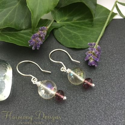 Picture of Dainty and Enchanting - Mystic Light Citrine - AB Celebrity Glass Beads - Hand Forged - Silver Plated - Earrings (E111)