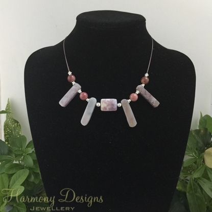 Picture of SOLD - One Only - Stunning Natural Beauty - Distinguished -  Jasper -  Timeless  - Silver Plated -  Necklace - (N64)