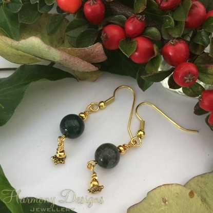 Picture of Eye-catching and pretty - Jasper - Elegant - Gold Plated - Longer Length - Earrings  (E113)