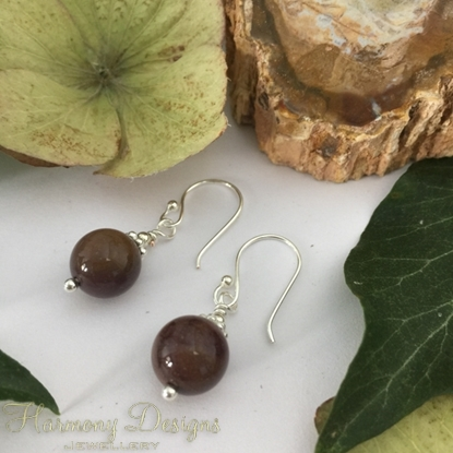 Picture of One Only - Delicate and attractive  -  Jasper -  Timeless  - Silver  Plated -  Earrings (E116)