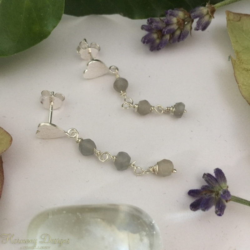 Picture of 925 Sterling Silver - Limited Stock One Left - Delicate -  Graceful - Grey Moonstone Faceted Bead -  Heart Feature Earrings (E93)
