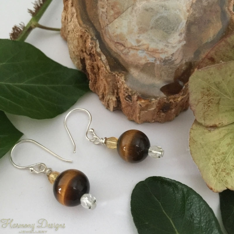 Picture of Distinguished  iridescence - Tigers Eye - Czech Fired Faceted Glass -  Silver Plated - Earrings  (E114)