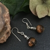 Picture of Distinguished  iridescence - Tigers Eye - Czech Fired Faceted Glass -  Silver Plated - Earrings (E115)