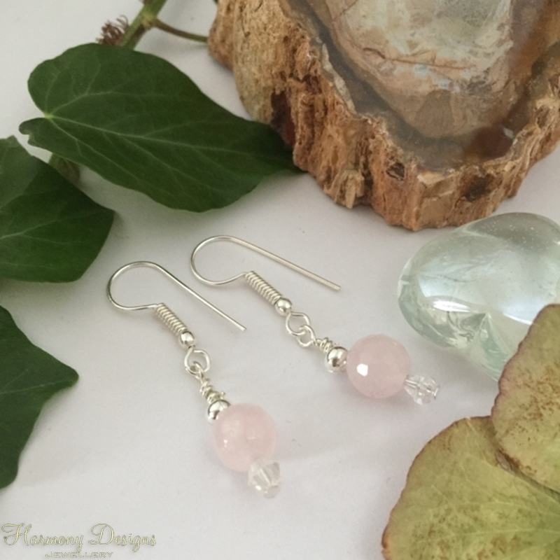 Picture of Limited Stock - Pretty and sophisticated - Rose Quartz Faceted  - Preciosa Crystal -  Silver Plated  -  Earrings (E118)